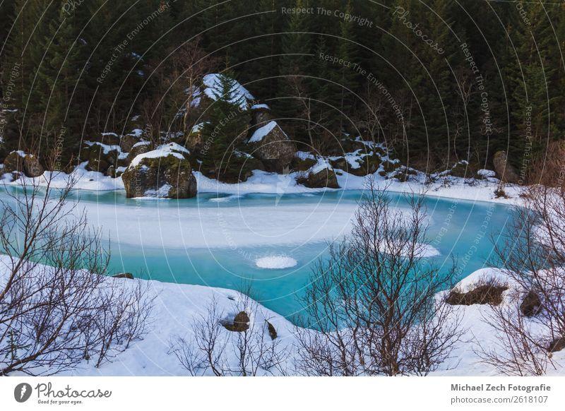 Himmel Natur blau schön grün Landschaft weiß Baum Meer Wald Winter Schnee See oben Park Aussicht