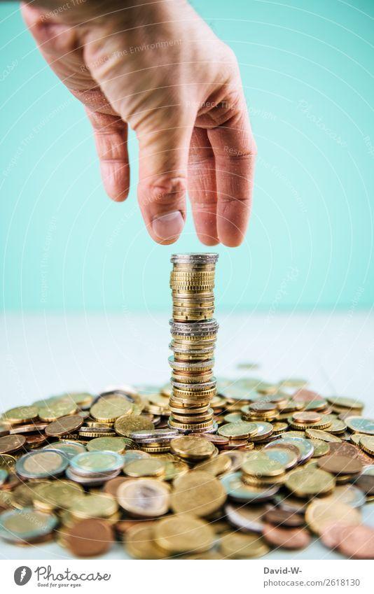 aller Anfang ist schwer Mensch Mann Hand Erwachsene Leben Business Kunst maskulin gold Wachstum Erfolg Finger Ziel Geldinstitut Wirtschaft Karriere