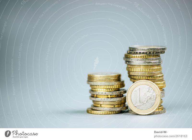 Geld - Euro Lifestyle kaufen Reichtum elegant Stil Design sparen Wirtschaft Handel Kapitalwirtschaft Geldinstitut Business Ruhestand Leben Geldmünzen Stapel