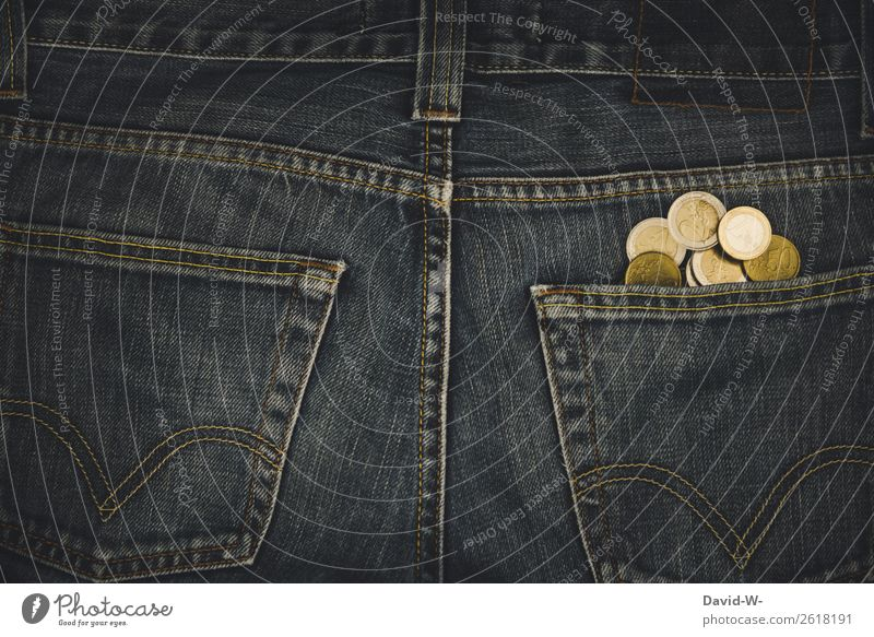 Geld - Taschengeld in der Hosentasche Euro Münzen Euromünzen Reichtum Armut sparen Bargeld Kapitalwirtschaft Geldmünzen bezahlen Einkommen kaufen Erfolg