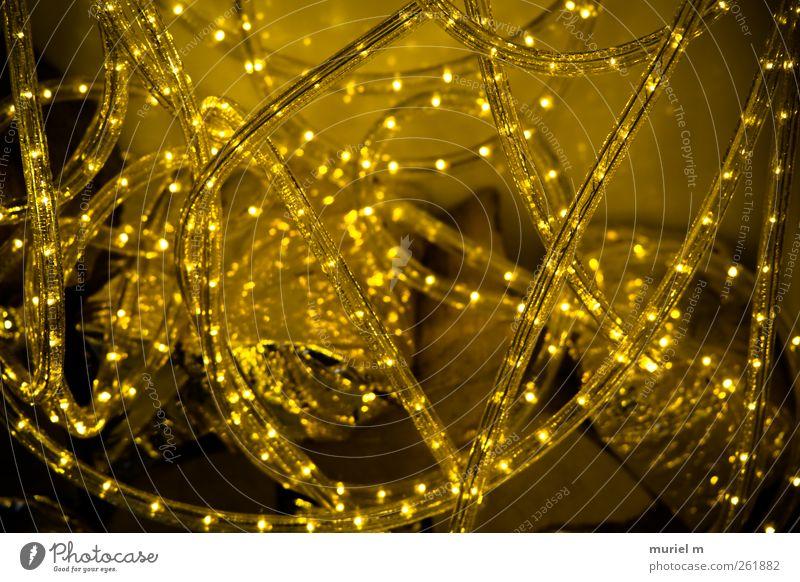 All that glitters... Spiegel Glas Gold Kristalle Ornament Linie Schnur Netz bizarr Weihnachten & Advent Farbfoto Gedeckte Farben abstrakt Muster Dämmerung Nacht