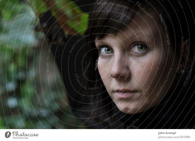 Galadriel feminin Junge Frau Jugendliche Gesicht 1 Mensch 18-30 Jahre Erwachsene Umwelt Natur Baum beobachten Blick dunkel schön grün Zufriedenheit Tapferkeit