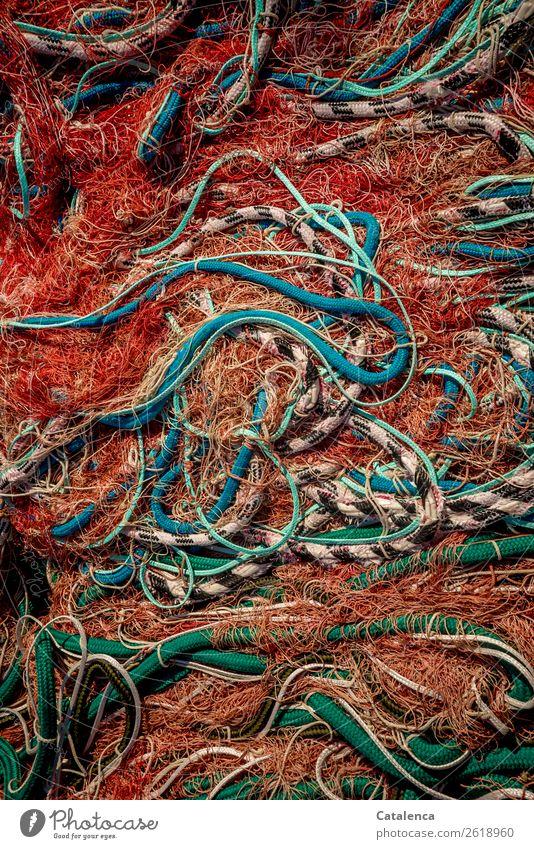 Wirrwarr Fischer Fischereiwirtschaft Fischerboot Meer Fischnetz Seil Netz Schleppnetzfischerei Kunststoff mehrfarbig bedrohlich Überleben Umwelt Umweltschutz