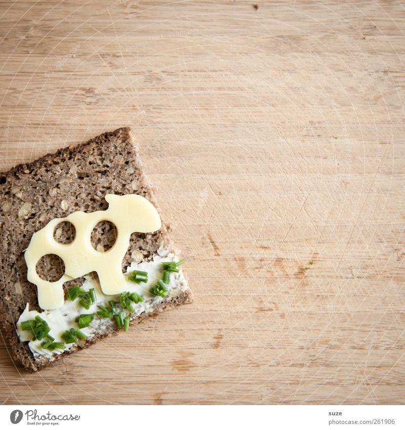 Käsebrot ... grün Ernährung Lebensmittel lustig braun niedlich Gesunde Ernährung Kreativität Idee Schaf Brot lecker Bioprodukte tierisch Tisch Käse