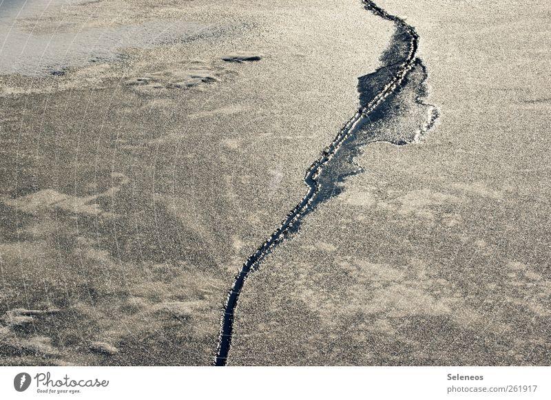 Das Eis bekommt tiefe Falten Winter Schnee Umwelt Natur Urelemente Wasser Klima Klimawandel Wetter Frost Linie frieren kalt kaputt Riss Farbfoto Außenaufnahme