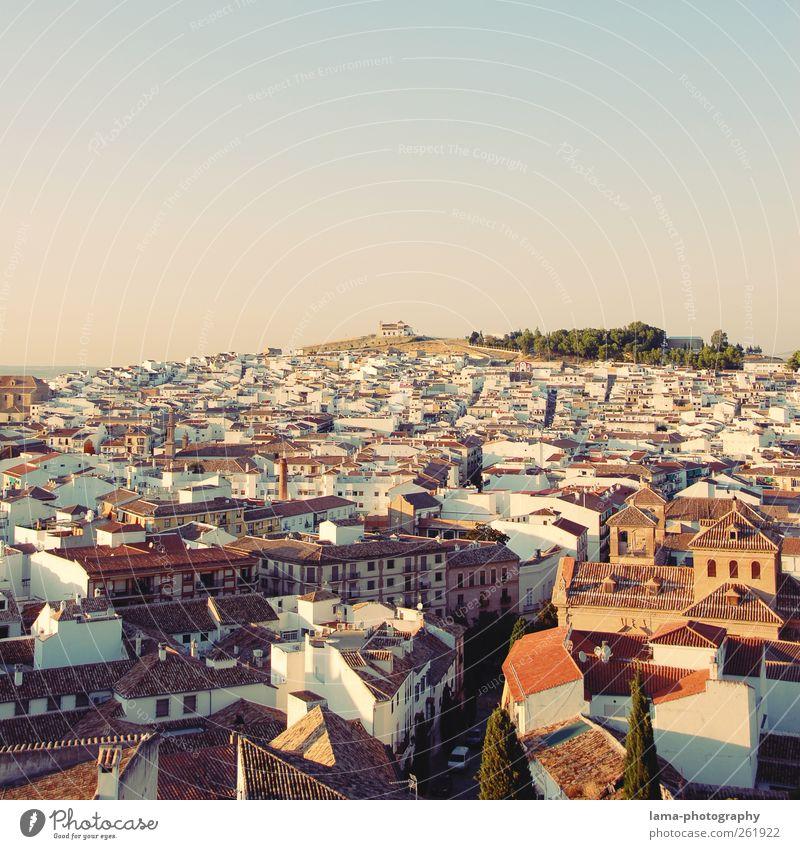 Antequera [XV] weiß Stadt Ferien & Urlaub & Reisen Haus Tourismus Hügel Dorf Aussicht Spanien Abenddämmerung Stadtzentrum Altstadt mediterran Kleinstadt