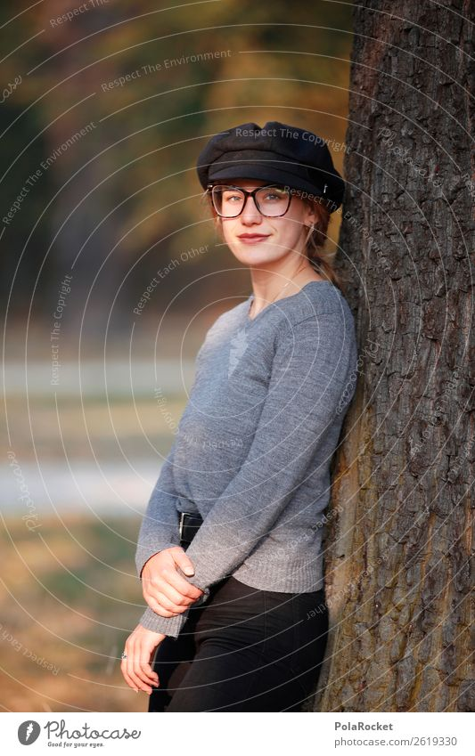 #A# Entspannter Herbst feminin 1 Mensch ästhetisch Herbstlaub herbstlich Herbstfärbung Herbstwald Herbstwetter Baumstamm Frau Mode Model Modellfigur Farbfoto