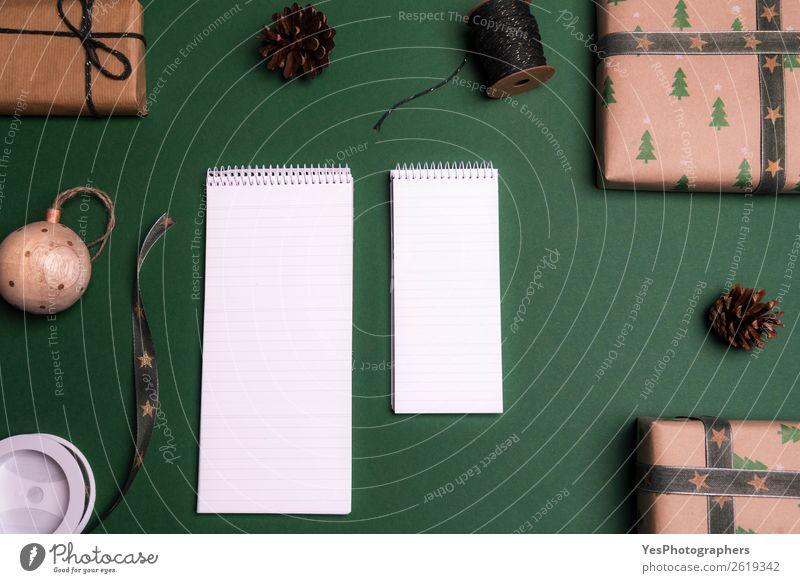 Weihnachten & Advent Winter Glück Textfreiraum braun Dekoration & Verzierung elegant Tisch Geschenk Schnur Schreibtisch Entwurf Mitteilung klassisch blanko
