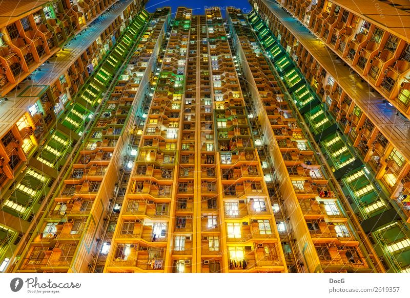 Hong Kong - South West - Tower Blocks - Living vertically Fenster Architektur Leben Wand Gebäude Mauer Fassade Häusliches Leben Hochhaus Bauwerk Balkon