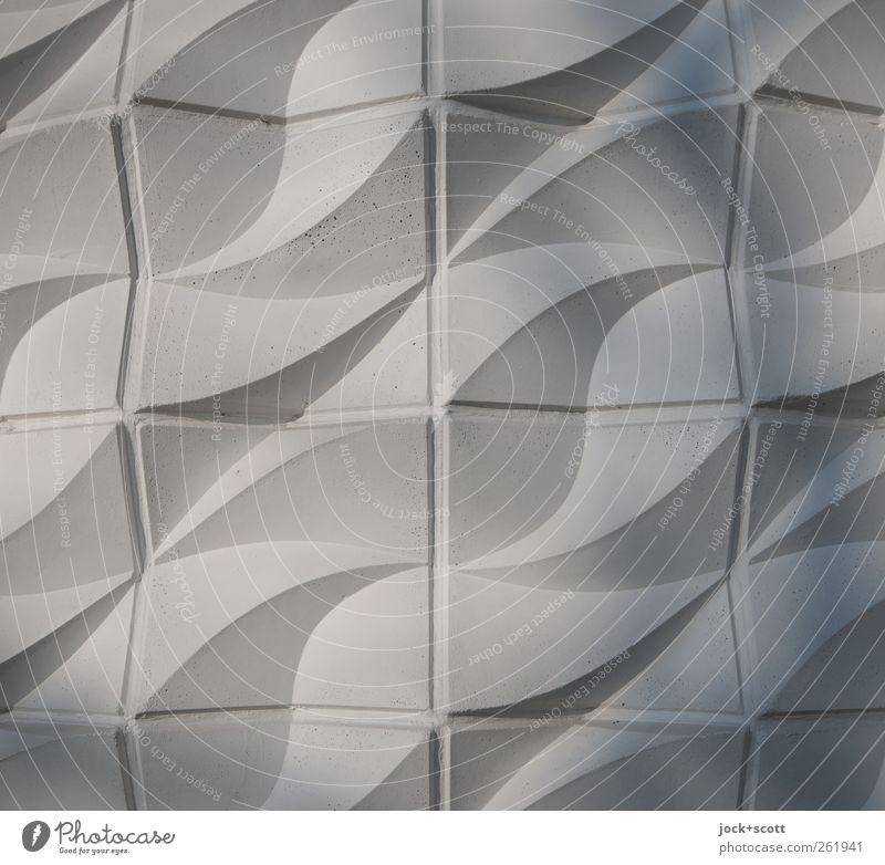 Wellenform im Quadrat Design Wandverkleidung Relief Realismus Fassade Beton Ornament Kreuz Linie Netzwerk ästhetisch elegant fest retro grau Schutz Leben
