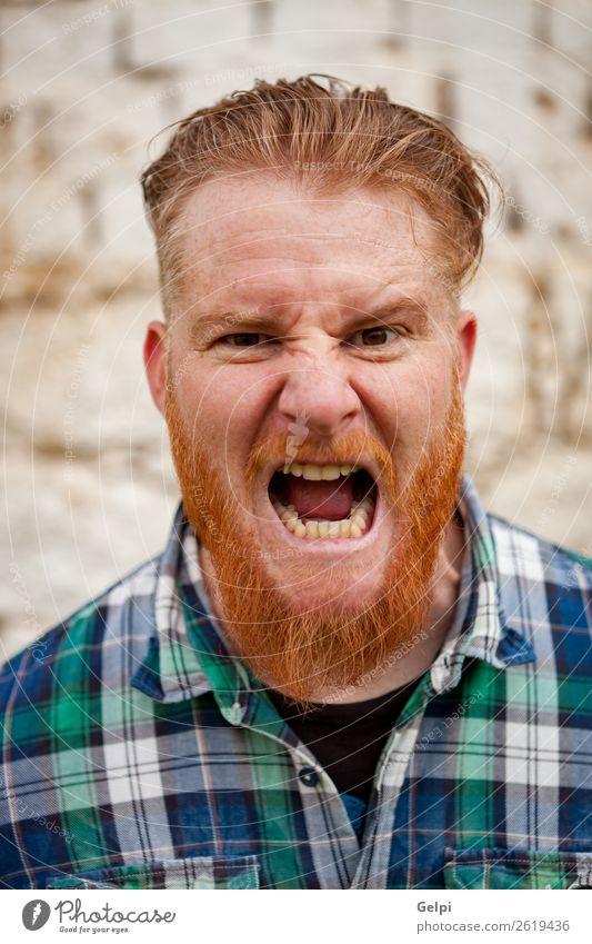 Rothaariger Mann Haare & Frisuren Gesicht Mensch Junge Erwachsene rothaarig Vollbart außergewöhnlich modern niedlich verrückt Wut weiß Gefühle Behaarung drohend
