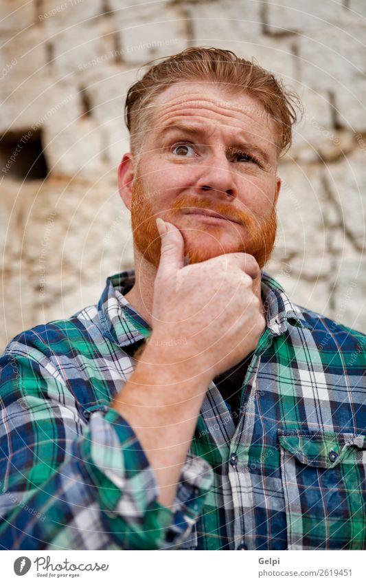 Mensch Mann weiß rot Gesicht Erwachsene lustig Gefühle Junge außergewöhnlich Haare & Frisuren Denken niedlich Beautyfotografie Model Sorge