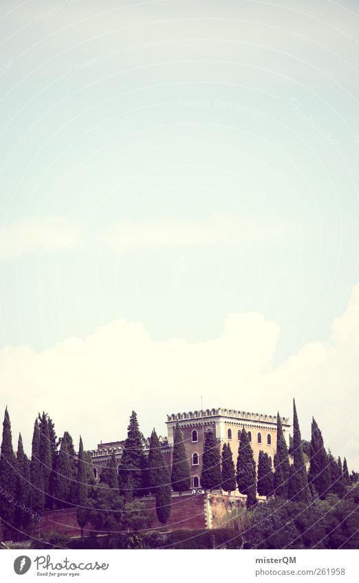 hoch hinaus. Natur Sommer Himmel (Jenseits) Umwelt Landschaft Berge u. Gebirge ästhetisch Idylle Italien Hügel Sommerurlaub Schloss Surrealismus Villa mediterran altmodisch