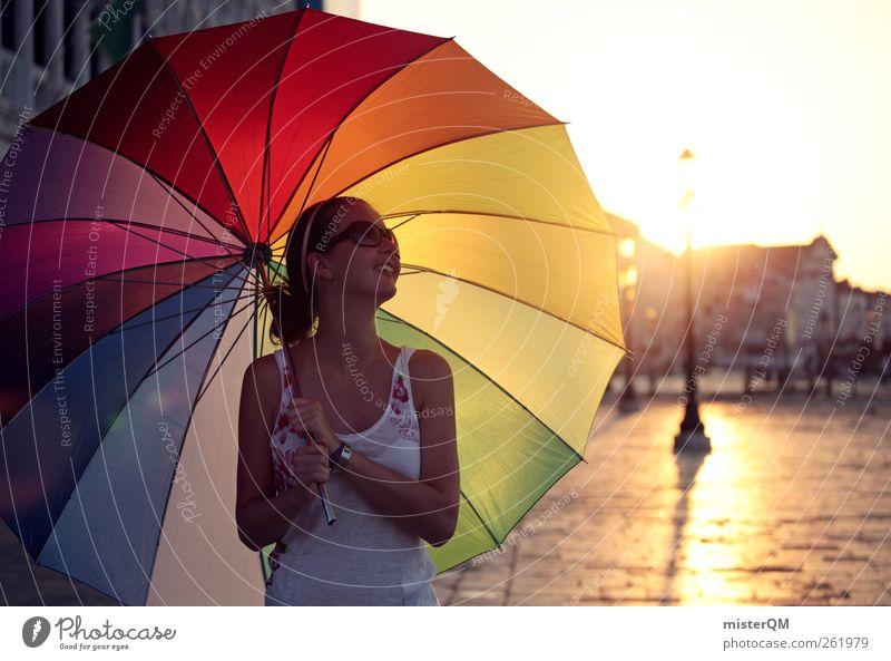 Hello Sunshine. Frau Jugendliche schön Sommer Sonne Freude Leben Stil Spielen lachen Kunst Freiheit modern ästhetisch verrückt Kreativität