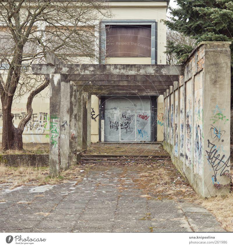 kultur Hoyerswerda DDR Stadtrand Ruine Gebäude Mauer Wand Fenster Tür Pergola Beton Graffiti alt dreckig kaputt trist Sorge stagnierend Stimmung Verfall