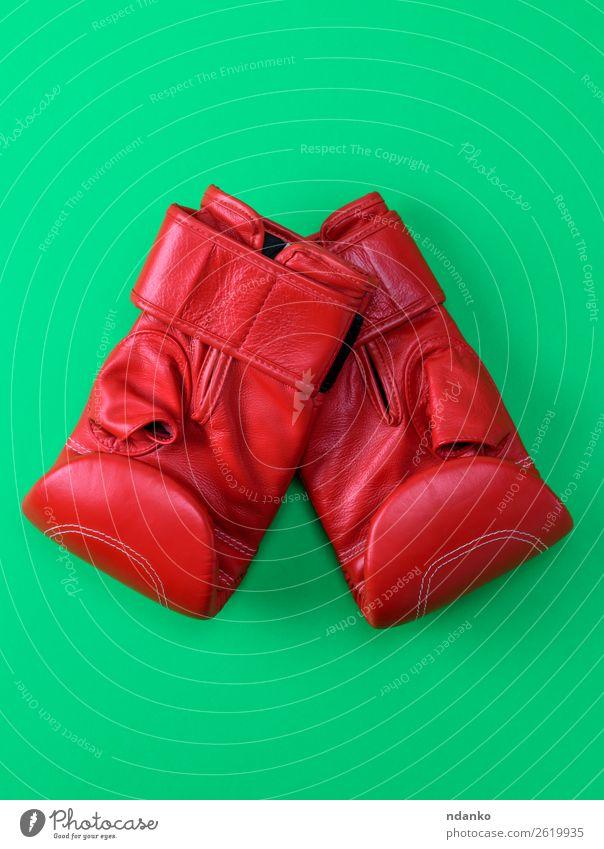 rote Sportleder Boxhandschuhe Lifestyle Leder Handschuhe Fitness oben grün Schutz Farbe Konkurrenz Kreativität Hintergrund Kasten Boxer Boxsport