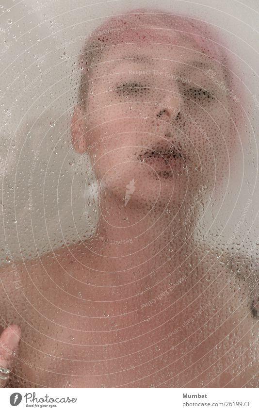 Lara II Körper Mensch feminin Junge Frau Jugendliche 1 18-30 Jahre Erwachsene rothaarig Glas atmen stehen Erotik nass rebellisch Wärme wild weich rosa