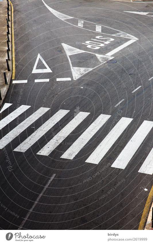 Alles geregelt Menschenleer Verkehr Verkehrswege Straßenverkehr Straßenkreuzung Verkehrszeichen Verkehrsschild Zebrastreifen stoppen Zeichen Schriftzeichen