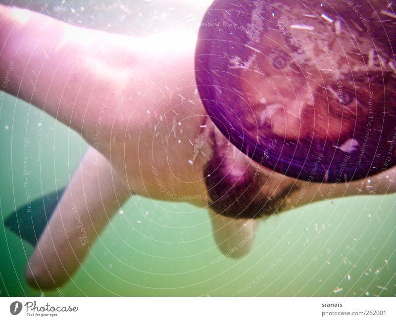 rosarote Brille Mensch Mann Natur Jugendliche Wasser Ferien & Urlaub & Reisen Meer Sommer Erwachsene See Schwimmen & Baden Angst Freizeit & Hobby maskulin