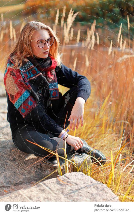 #A# HerbstSitz Frau Mensch feminin Mode Denken sitzen ästhetisch Zukunft Studium Futurismus Model Karriere Modellfigur Zukunftsorientiert Zukunftstraum