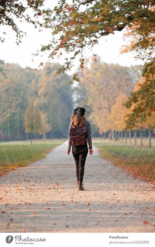 #A# ParkAllee Frau Herbst Kunst ästhetisch laufen Spaziergang Spazierweg Herbstlaub herbstlich Herbstfärbung Herbstbeginn Herbstwald Herbstwetter