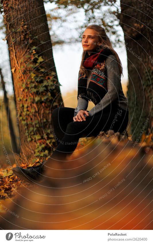 #A# Goldene Stunde feminin 1 Mensch ästhetisch Frau sitzen Wald Herbst herbstlich Herbstlaub Herbstfärbung Herbstbeginn Herbstwald Herbstwetter Herbstwind