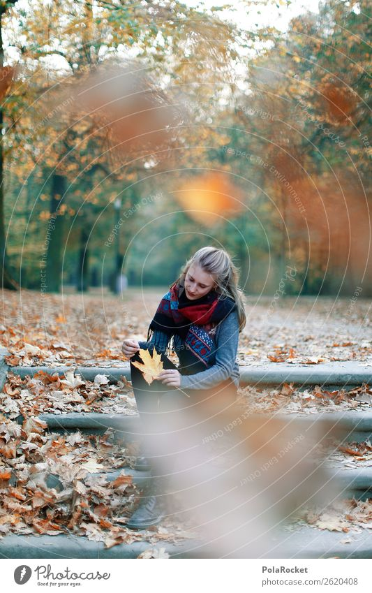#A# HerbstRegen feminin 1 Mensch Kunst ästhetisch Frau Herbstlaub herbstlich Herbstfärbung Herbstbeginn Herbstwald Herbstwetter Herbstwind Blatt Treppe