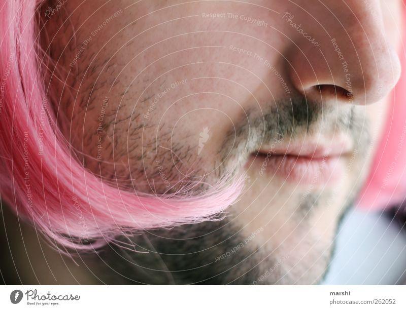 die Frau im Manne Stil Mensch maskulin feminin Junge Frau Jugendliche Junger Mann Erwachsene Haut Haare & Frisuren Gesicht Bart rosa Karneval Perücke Nase
