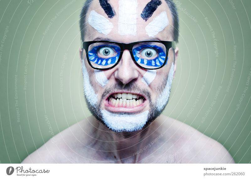 On a trip Mensch Mann Jugendliche Erwachsene Farbstoff Kunst maskulin außergewöhnlich Maske gruselig Theaterschauspiel Junger Mann skurril Schminke Künstler 30-45 Jahre
