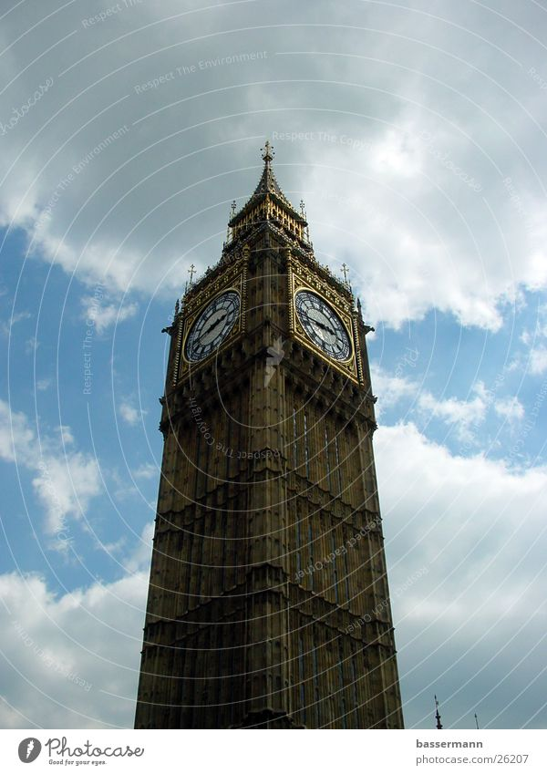 Big Ben Himmel Wolken Architektur Europa London England Hauptstadt Westminster Abbey