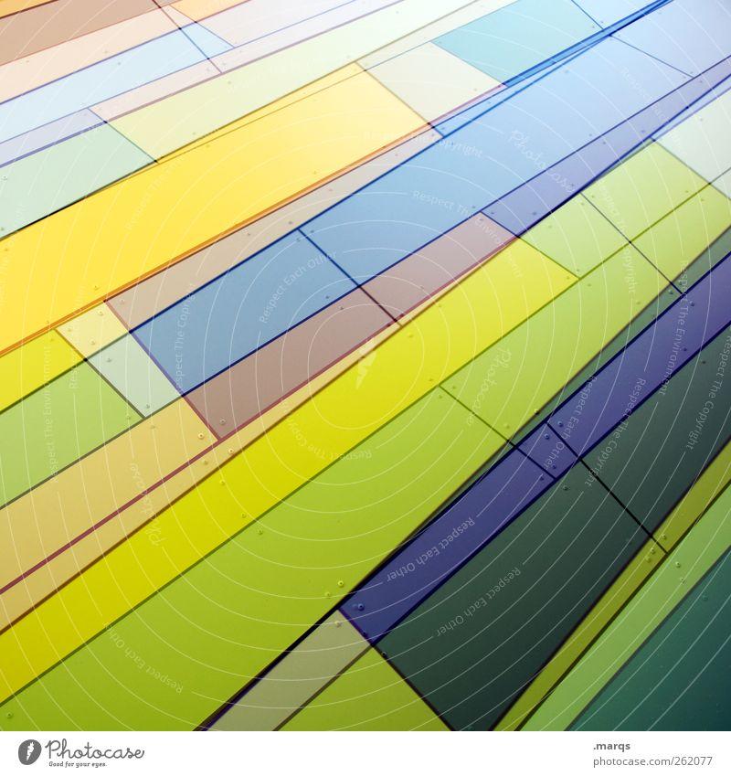 Gestreift blau grün Farbe gelb Stil Linie Kunst Hintergrundbild Fassade Design modern frisch außergewöhnlich Zukunft Streifen Coolness