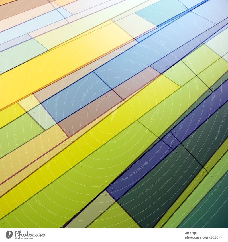 Gestreift Stil Design Kunst Fassade Linie Streifen außergewöhnlich Coolness frisch einzigartig modern blau gelb grün violett chaotisch Farbe Zukunft