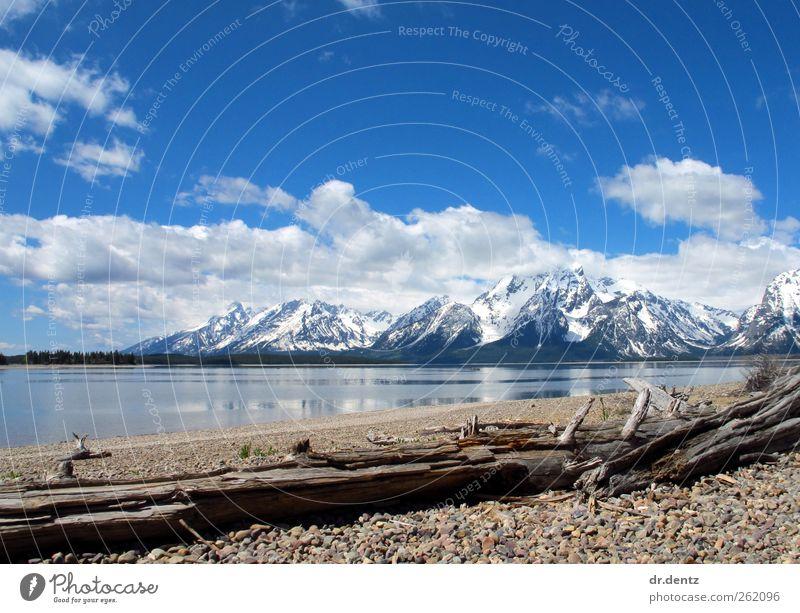 Grand Teton National Park Panorama Himmel Natur Ferien & Urlaub & Reisen Wasser Landschaft Wolken Winter Ferne Umwelt Berge u. Gebirge Schnee Freiheit Felsen