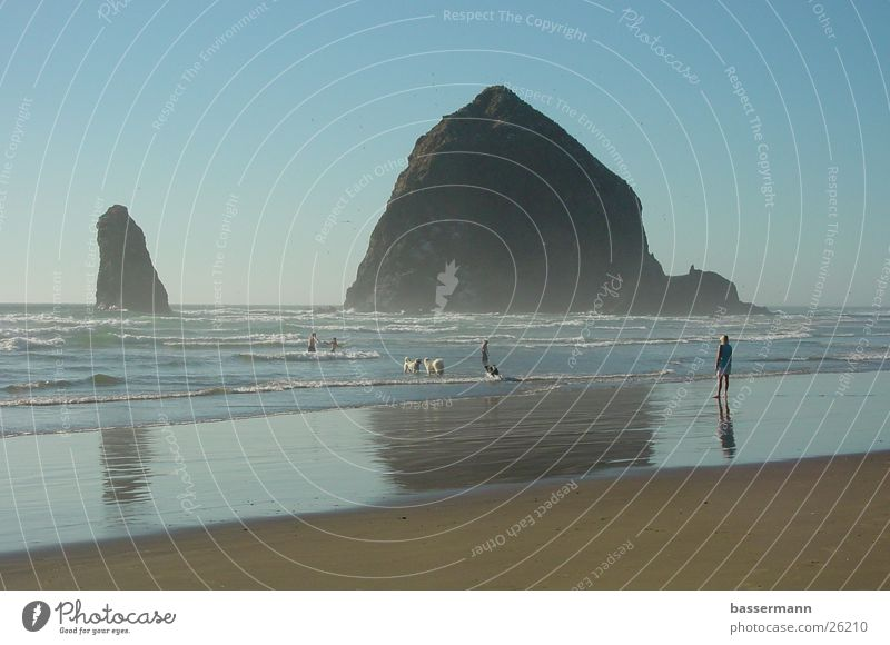 Haystack Rock Meer Sommer Strand Ferien & Urlaub & Reisen Felsen Klippe Pazifik Oregon Westküste Cannon Beach