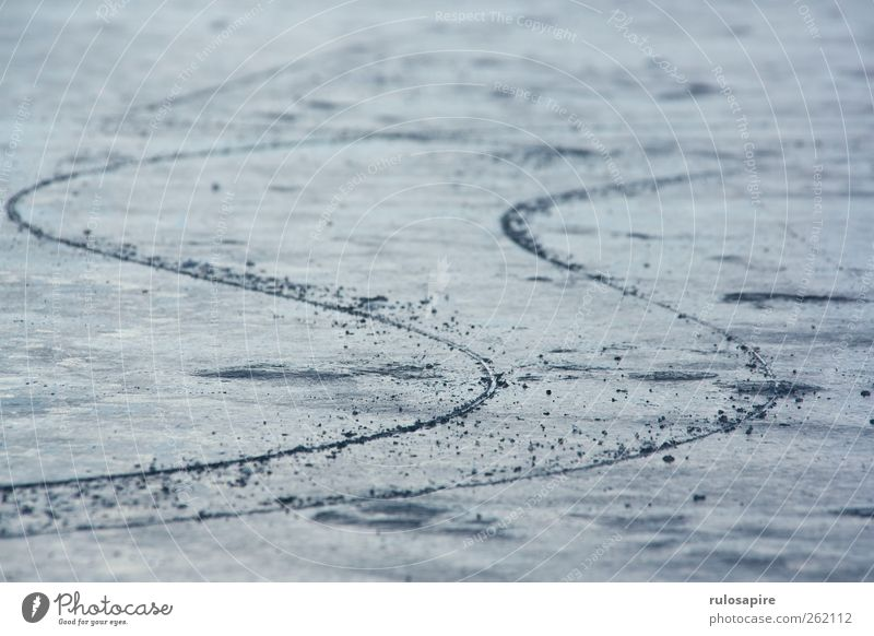 Spuren im Eis #2 Winter Wintersport Frost Küste Ostsee elegant blau grau Erfolg Willensstärke Genauigkeit Zufriedenheit kalt Klima Konzentration Präzision Sport