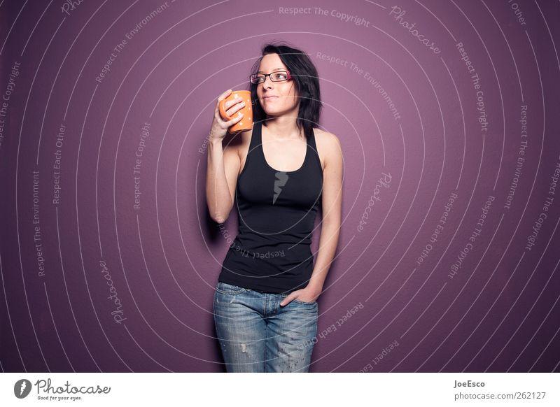 #262127 Frau schön Erwachsene Erholung Leben träumen Mode Wohnung Freizeit & Hobby Getränk Lifestyle Häusliches Leben Coolness Pause Kaffee T-Shirt