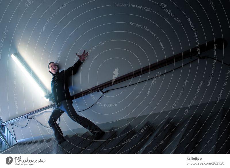 energy Mensch Mann Erwachsene Lampe Energiewirtschaft maskulin Energie Treppe Technik & Technologie Geländer schreien Konflikt & Streit Treppenhaus kämpfen Neonlicht Aggression