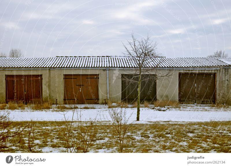 Haßleben Himmel Winter Schnee Baum Gebäude Garage Garagentor Mauer Wand Fassade Tür Dach trist Stimmung Farbfoto Außenaufnahme Menschenleer Licht