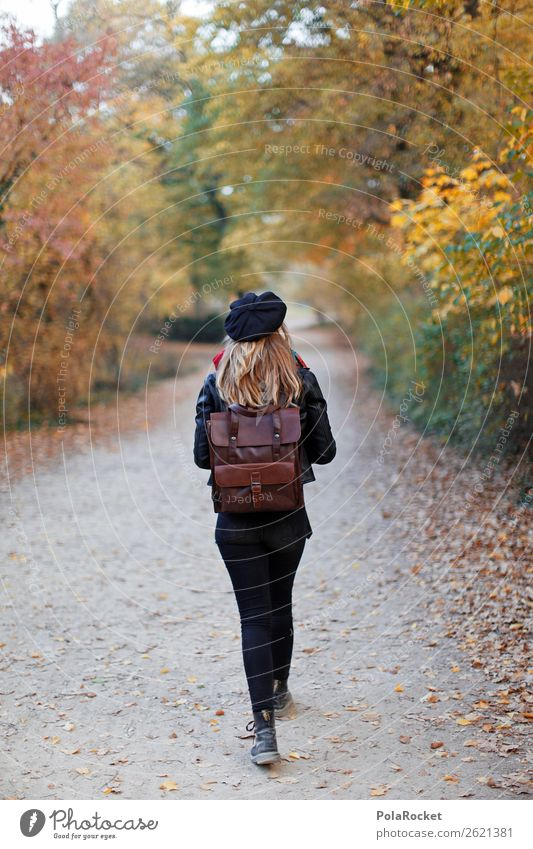 #A# Durch den Herbst Kunst ästhetisch Frau wandern Spaziergang Wald Park Herbstlaub herbstlich Herbstbeginn Herbstwald Herbstwetter Herbstlandschaft Rucksack