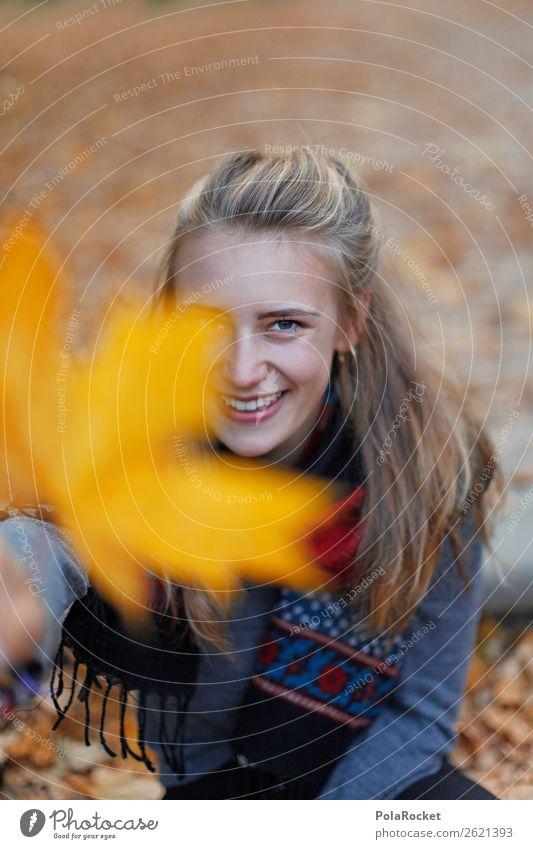 #A# HerbstLächeln Mensch feminin 1 Kunst ästhetisch herbstlich Herbstlaub Herbstfärbung Herbstbeginn Herbstwald Herbstwetter Herbstlandschaft Ahorn Blatt lachen