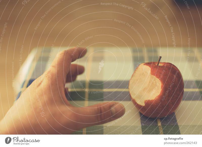 Apple_Day Two Hand Ernährung Lebensmittel Tisch Apfel berühren Tischwäsche