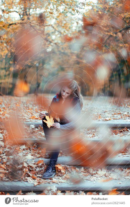 #A# HerbstPause 1 Mensch ästhetisch herbstlich Herbstlaub Herbstfärbung Herbstbeginn Herbstwald Herbstwetter Herbstlandschaft Herbstwind Treppe Wind Frau Mode
