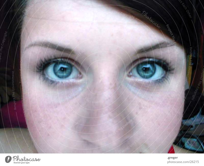 corinna =) Frau blau Auge Nase Sommersprossen Stirn Scheitel
