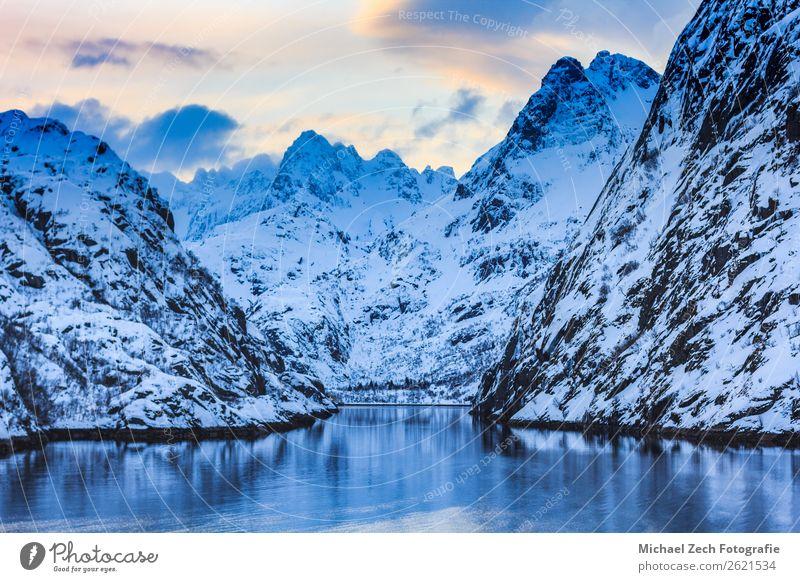 Blick auf den Trollfjord mit schneebedeckten Bergen auf den Inseln der Lofoten Ferien & Urlaub & Reisen Meer Winter Schnee Berge u. Gebirge wandern Natur