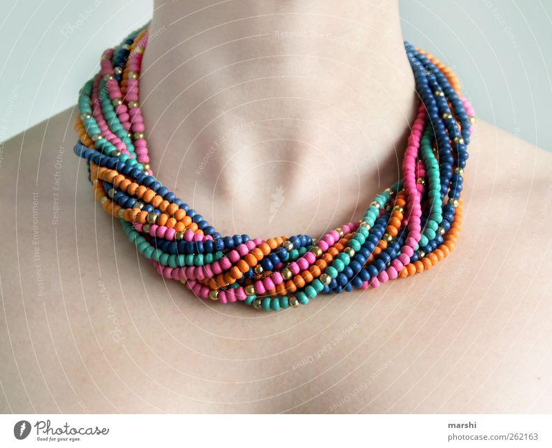 Halsschmuck elegant Stil Design Mensch feminin Junge Frau Jugendliche Erwachsene Haut 1 mehrfarbig Halskette Halsband Perlenkette bleich Schmuck