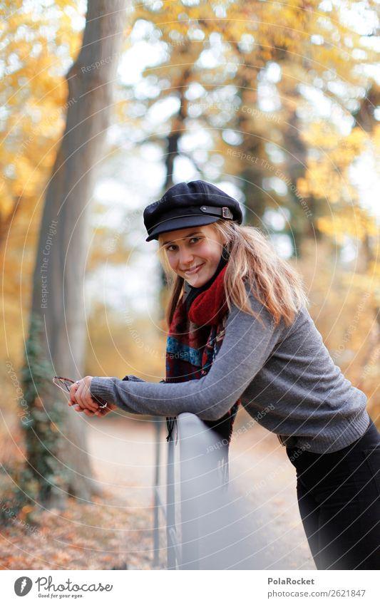 #A# angelehnt Frau Mensch ruhig Herbst feminin lachen Kunst Mode Lächeln ästhetisch Freundlichkeit Spaziergang Geländer Model Spazierweg Herbstlaub