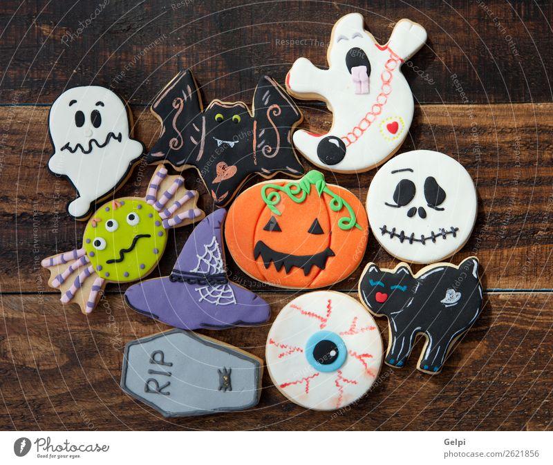 Fröhliches Halloween Dessert Freude Dekoration & Verzierung Feste & Feiern Herbst Katze Spinne lecker schwarz weiß Angst Feiertag Lebensmittel Kürbis Mehl