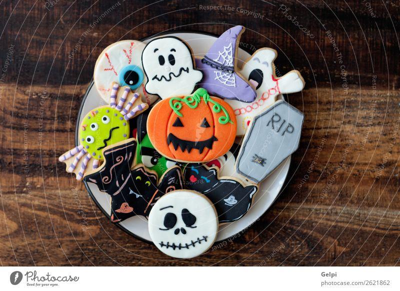 Fröhliches Halloween Dessert Teller Freude Dekoration & Verzierung Feste & Feiern Herbst Katze Spinne lecker schwarz weiß Angst Feiertag Lebensmittel Kürbis