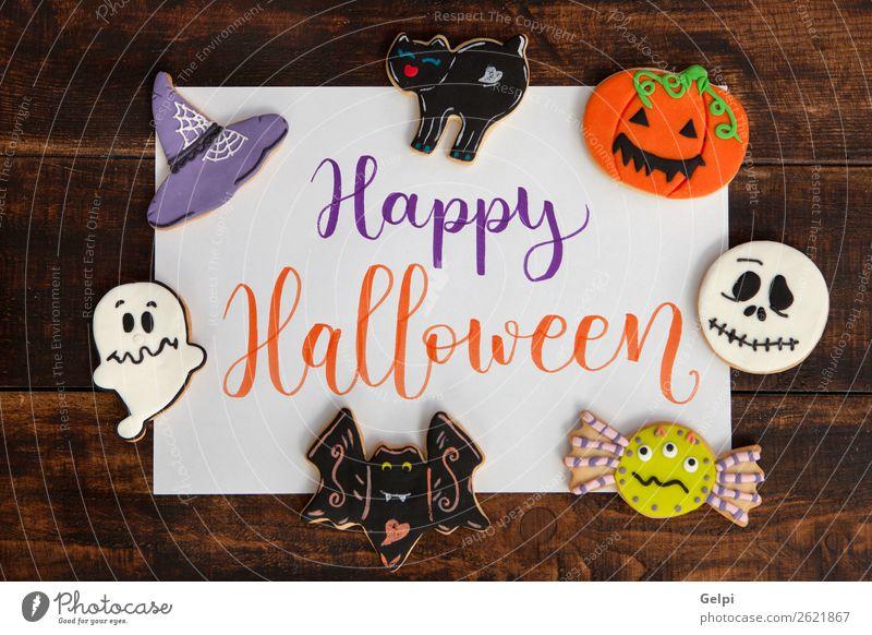 Fröhliches Halloween Dessert Freude Glück Dekoration & Verzierung Feste & Feiern Herbst Katze Spinne lecker schwarz weiß Angst Feiertag Lebensmittel Kürbis Mehl