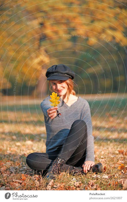 #A# HerbstLächeln 1 Mensch Kunst ästhetisch Blatt herbstlich Herbstlaub Herbstfärbung Herbstbeginn Herbstwald Herbstwetter Herbstwind Ahorn Park Außenaufnahme